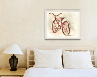 Red bicycle art print / Large sizes / Red / Cream / Vintage Red bicycle illustration