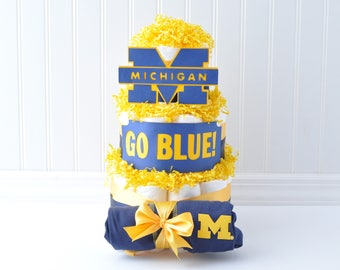 University Diaper Cake, Cute Michigan Baby Shower Gift, U of M Baby Gift, University of Michigan Diaper Cake, Go Blue Baby Shower Gift