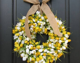 Tulips Front Door Wreath Door Wreaths Spring Tulips Mother's Day Wreath Easter Tulips Trending Wreaths