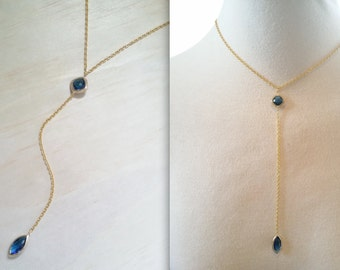 MidNight Blue necklace Blue Gold jewelry Blue Sapphire Birthstone Y necklace choker Bridesmaid gift  Marquise pendant gold blue wedding