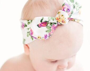 Baby Knot Headband, Baby Turban Headband, Baby Headwrap, Turban Headband, Toddler Knotted Headband, Baby Headband - Vintage Purple Floral