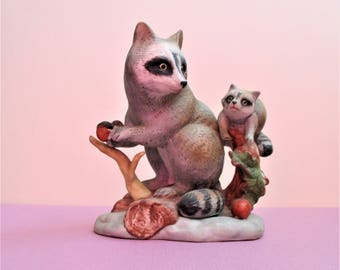 Raccoon Figurine Mother Raccoon with Baby Large Vintage Ceramic Wild Animal Figures Figural Nature Home Decor Nursery Children's Room