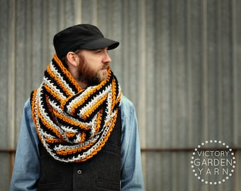 THE CORRUGATE COWL | 22 Color Choices | Mens Chunky Knit Textured Infinity Cowl Scarf