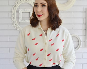 Vintage 1960s Cream Acrylic Cardigan with Red Rain Drops by Talbott Size Medium