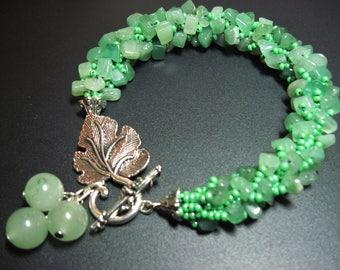 May birthday jewelry Crochet bracelet Jade jewelry Mint green stone bracelet