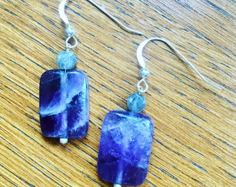 Beautiful Amethyst and Labradorite Gemstone Earrings with Sterling Silver Ear wires