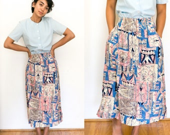 Bohemian Skirt / Pocket Skirt / Abstract Midi / Ethnic Print High Waisted Hippie 90s High Waist Boho Skirt Vintage Womens Small Pink Blue