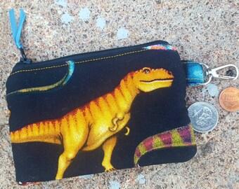 Dinosaur Coin Purse, Boys Zipper Wallet, Ear Bud Pouch, Kids Change Purse, Lunch money Pouch