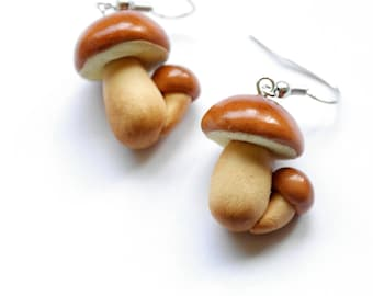 Mushroom earrings Boletus Edulis Porcini earrings, Cèpes earrings, Steinpilz, King Bolete, Fungus earrings velwoo