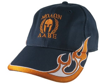 Molon Labe Spartan Warrior Roman Gladiator Laurels Embroidery on Adjustable Navy Blue Soft Structured Racing Flames Baseball Cap + Options