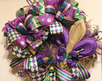 Mardi Gras Deco Mesh Wreath, Fleur De Lis Mardi Gras Wreath, Coins Bead Feather Wreath, Fat Tuesday Decor, Whimsical Mardi Gras Wreath, XXL
