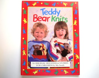 TEDDY BEAR KNITS Children Sweaters Pattern Book 16 Knitting Patterns Child Chest Sizes 22-30 Inches Cardigan Pullover Jumper Aran Kids Bears