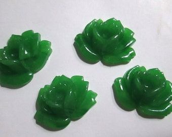 2 Green Glass Rose Cabochons