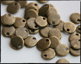 Tiny Antique Bronze Stamping Blank. 8mm. Stamping tag, round. So cute! For hand-stamped jewelry, initial charms. Blank tag. QTY 30 (CL-2)