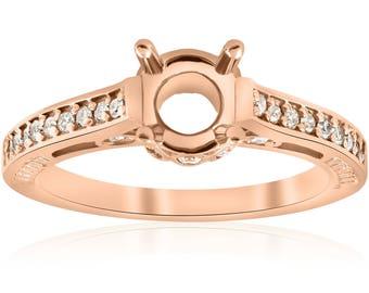 Rose Gold Diamond Engagement Ring Setting 14k Semi Mount Vintage Antique Art Deco Accents