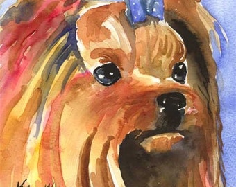 Yorkshire Terrier art Print of Original Watercolor Painting - 11x14
