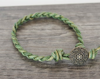 Green Braided Leather Bracelet • green leather braided bracelet • green leather bracelet • braided wrap bracelet • B1GR006