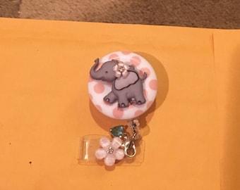 Elephant nurse badge reel, lanyard,cute pastel wedding pink RN clips, name tag clip retractable badges reels, polkadots medical hospital ER