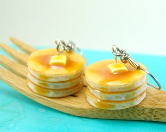 Food Earrings // Buttermilk Pancake Earrings // MADE TO ORDER // Breakfast Jewelry