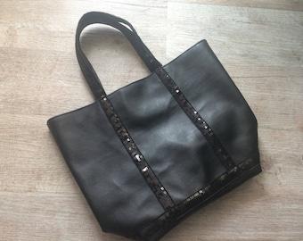Black leather look tote bag / black shopper/ sequins bag / black leather look handbag