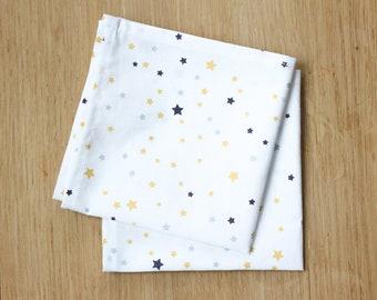 Set of 2 handkerchiefs - yellow and purple stars - handkerchief washable reusable eco-friendly zero waste - 25x25cm