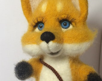 Fox from the bag,Woodland Fox Softie Toy, Perfect for Nursery,wool fox,toy for gift