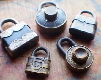 Black and Brass - Five Antique Padlocks - Initial M - Dudley Lock - Junkunc Bros - Old Combination Padlocks - Wholesale - No Keys - No Combo