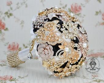 Wedding bouquet, Brooch Bouquet, Bridal Bouquet, Gold bouquet, Gold Wedding, White Bouquet, Black bouquet, Crystal Bouquet, Bride bouquet