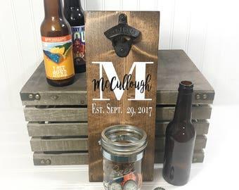 Wood Bottle Opener - Beer Opener - Wall Mount Beer Bottle Opener - Wood Beer Sign - Wood Bar Sign - Wedding Gift For Groom - Valentines Gift