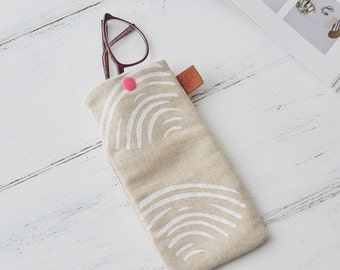 Clams Linen Glasses Sunglasses Case White Shells Linen Beach Holiday