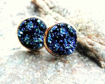 Druzy, Blue rose gold earrings