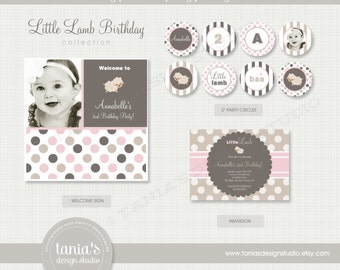 Little Lamb Birthday Printable Party Package by tania's design studio