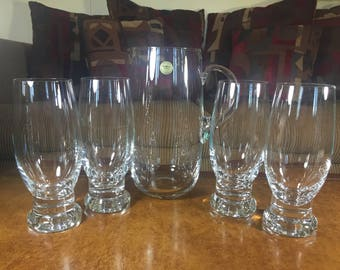 Block Crystal Pitcher and 4 Pilsner Glasses Lead Free Czech Republic Swing Time 5 Piece Beer Set