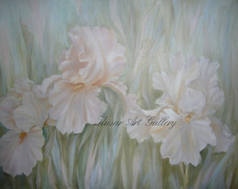 Blush Iris, Oil Painting by Lauren Kusar, Free Shipping