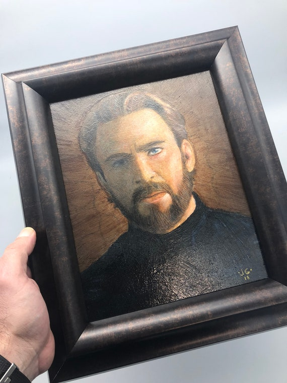 Captain America 8x10 inch Painting with Frame - Mixed-media Artwork  - Oil paint and Graphite - varnished - Infinity War - Avengers
