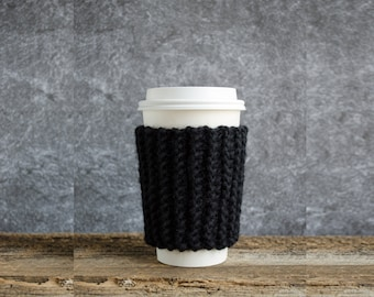Black Coffee Cozy, Cup Cozy, Coffee Mug Cozy, Chunky Knit Coffee Sleeve, Coffee Cup Cozy, Coffee Cup Sleeve, Hygge Decor, Gifts For Him