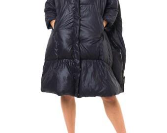 1990-1994 Oversized Glossy Black Henrik Vibskov Coat  One Size
