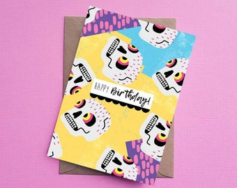 Sugar Skull Card, Birthday Card, Skull Greeting Card