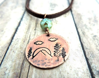 Mountain Necklace - Mountain Landscape - Hiker Gift - Adventure Jewelry - Wanderlust Necklace - Outdoor Jewelry