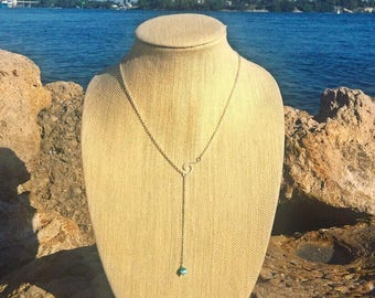 Silver Ride the Wave Drop Necklace with Blue Catseye Bead by Pisces Island