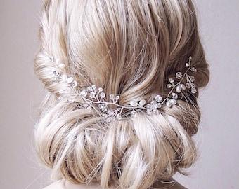 Pearl Hair Vine Pearl And Crystal Wedding Hair Piece Pearl Wedding Hair Vine Bridal Hair Piece Pearl Bridal Hair Vine