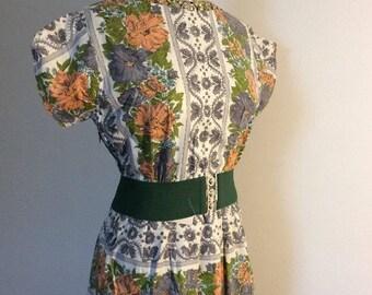 1950s Vintage Dress - 1950s Dress - White Green Grey & Orange Pattern - Cotton Dress - Uk Size 12 - Vintage Day Dress - Vintage 1950s Dress