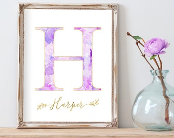 Floral Nursery Print, Baby Girl Gift, Baby Name Art, Monogram Nursery Art, Modern Nursery Art, Nursery Gallery Wall, Purple Nursery Decor