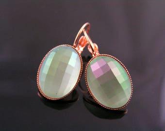 Rose Gold Earrings, Green Cabochon Earrings, Ear Cuffs, Leverback Earrings, Lever Back Ear Wires, Acrylic Earrings, Green Earrings, E2392rg
