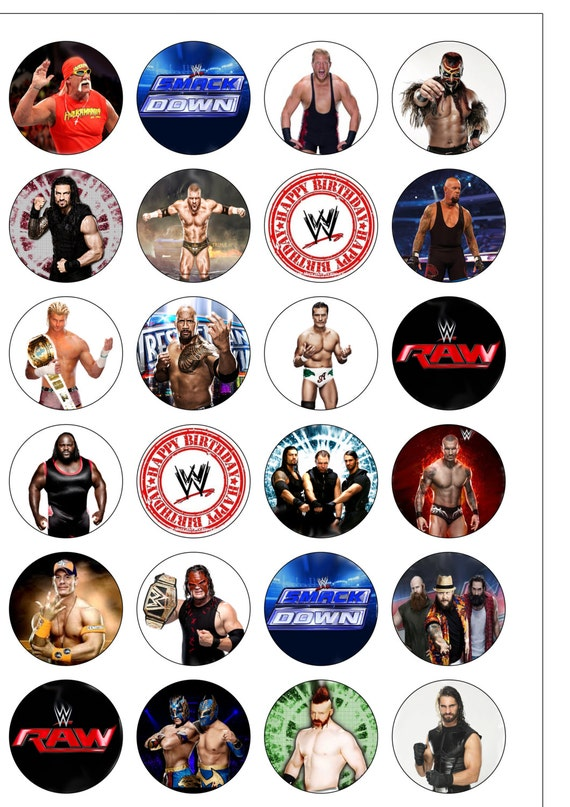 wwe cake toppers 24 precut 40mm circle smackdown edible wafer 1503