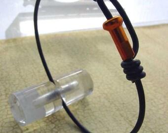 Bike spoke jewelry- Spoke bracelet with orange spoke nipple