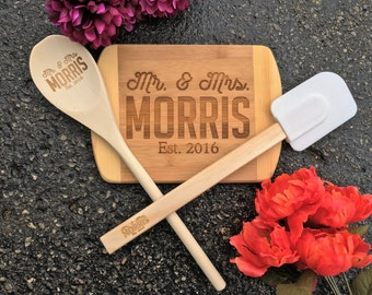Cutting Board Gift Set, Engraved Spoon, Engraved Spatula,Personalized Cutting Board,Shower,Wedding Gift,Anniversary Gifts,Housewarming Gift