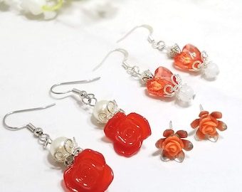Rose Floral earring set of three (reds)