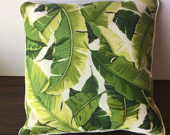 Beige/ Green leaves pillow cover with white welt 18x18, 20x20