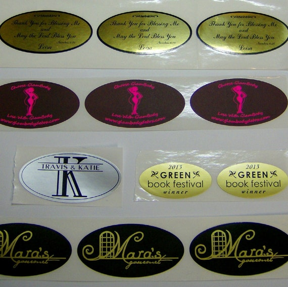 Printed Stickers, 500 Oval Labels, 1-Color Custom, on a roll (your choice  of label material & ink color) from TwinCityPrintShop on Etsy Studio